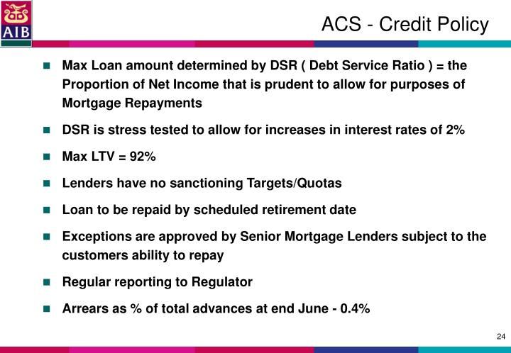 ACS - Credit Policy