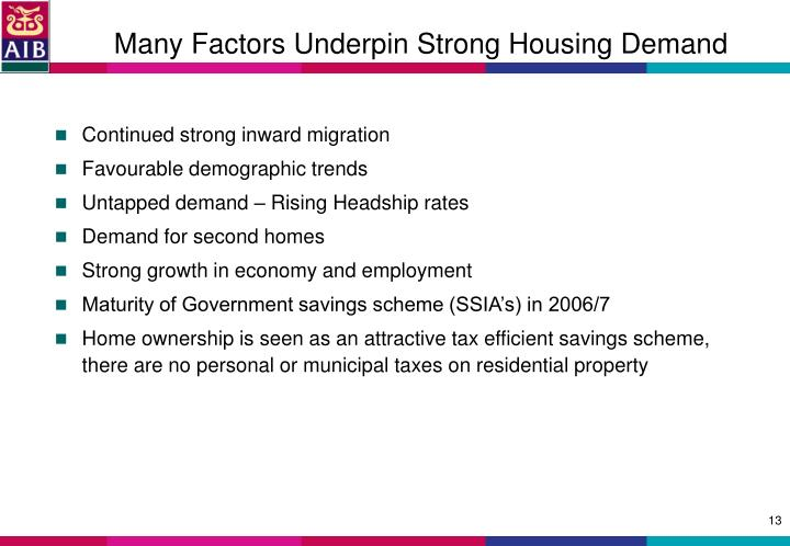 Many Factors Underpin Strong Housing Demand