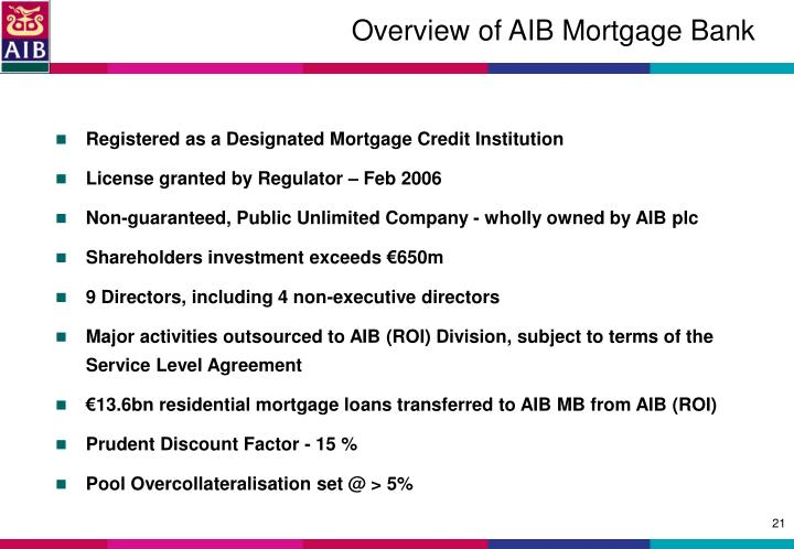 Overview of AIB Mortgage Bank