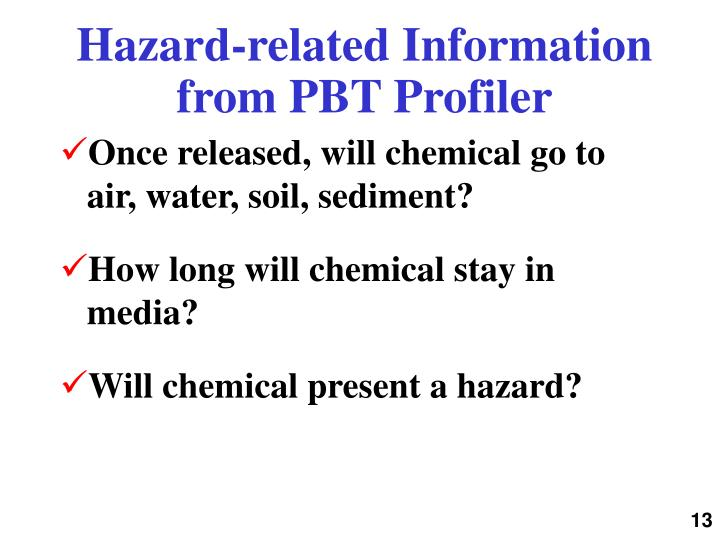 Hazard-related Information from PBT Profiler