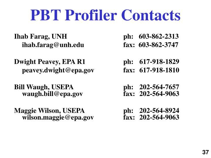 PBT Profiler Contacts