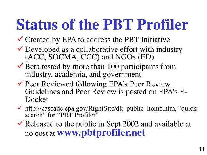 Status of the PBT Profiler