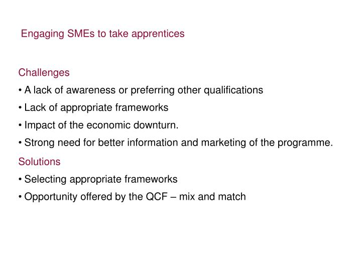 Engaging SMEs to take apprentices