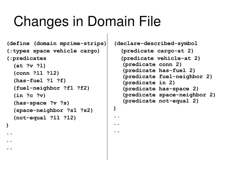 Changes in Domain File