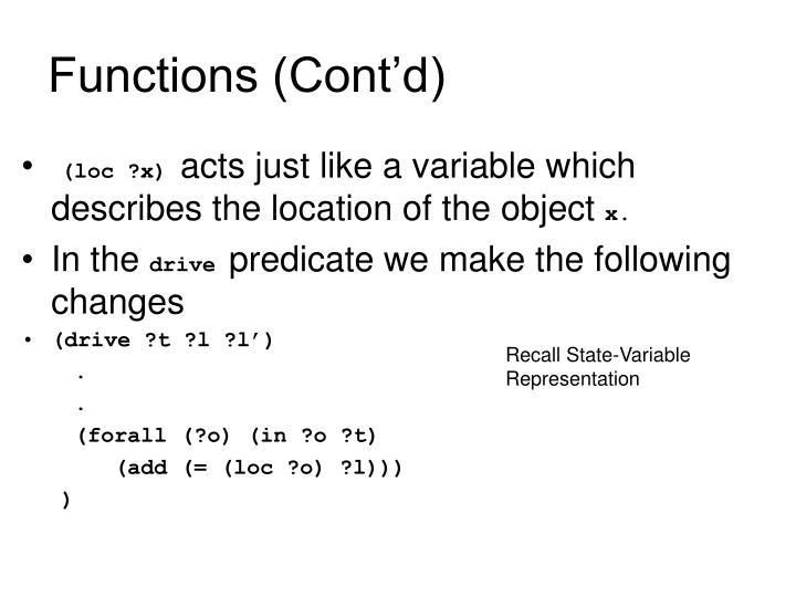 Functions (Cont'd)