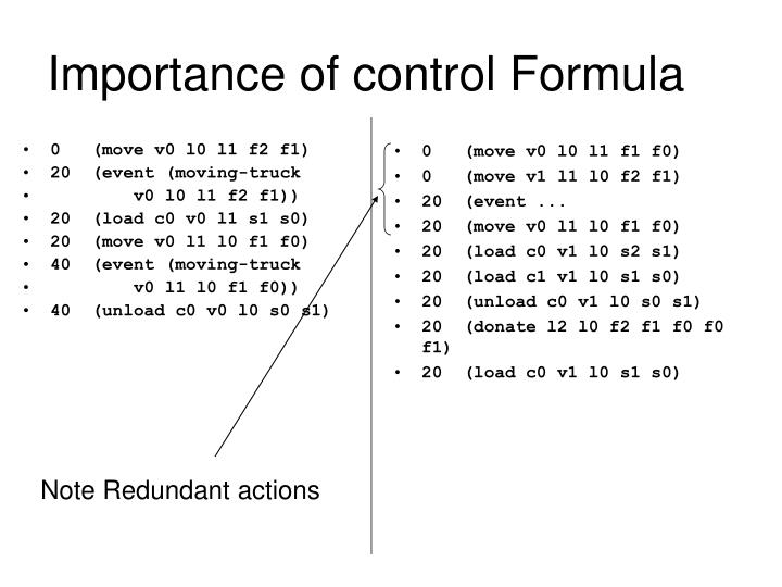 Importance of control Formula