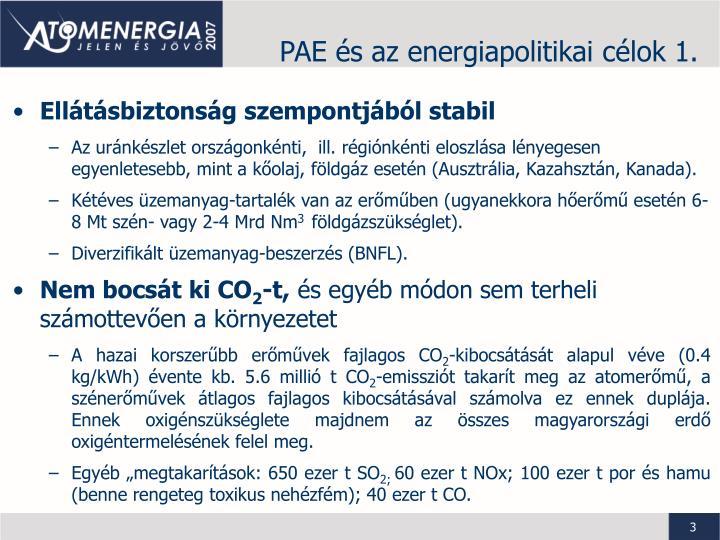 PAE és az energiapolitikai célok 1.