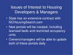 issues of interest to housing developers managers7