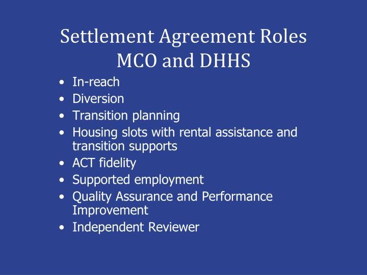 Settlement Agreement Roles