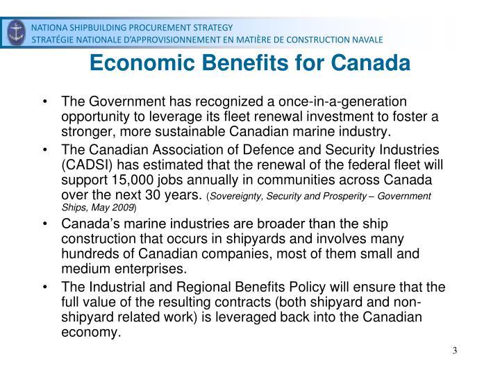Economic Benefits for Canada