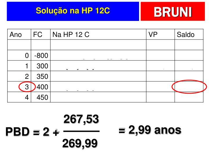 Solução na HP 12C
