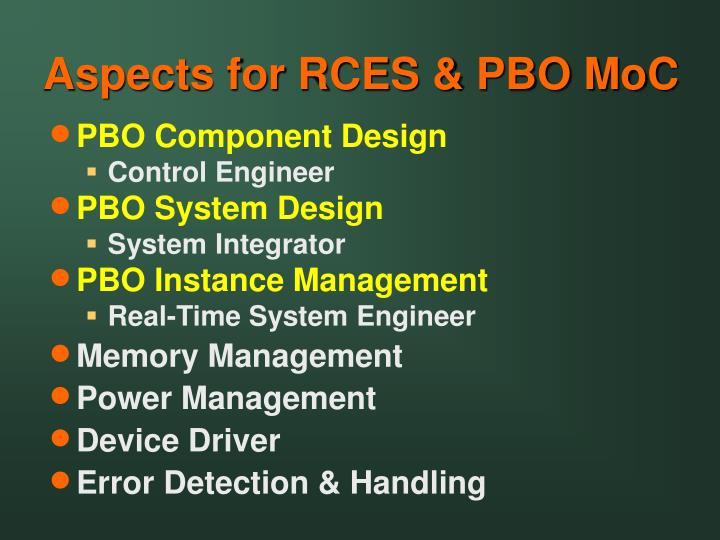 Aspects for RCES & PBO MoC