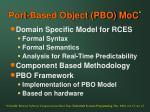 port based object pbo moc