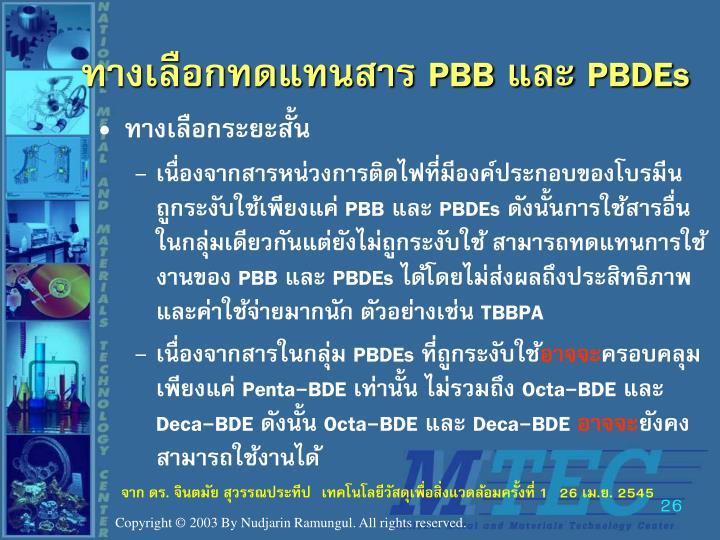 ทางเลือกทดแทนสาร PBB และ PBDEs