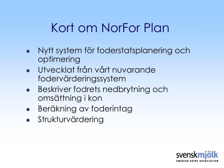 Kort om NorFor Plan