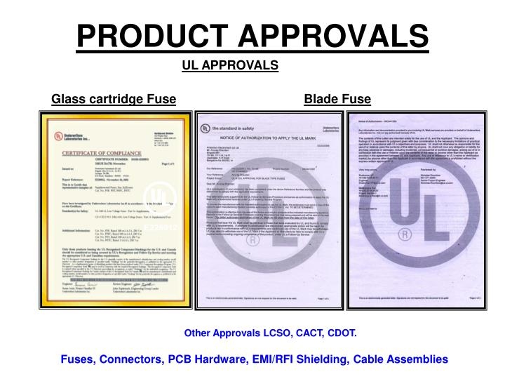 PRODUCT APPROVALS