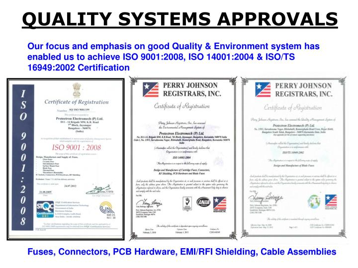 QUALITY SYSTEMS APPROVALS