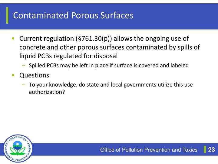 Contaminated Porous Surfaces