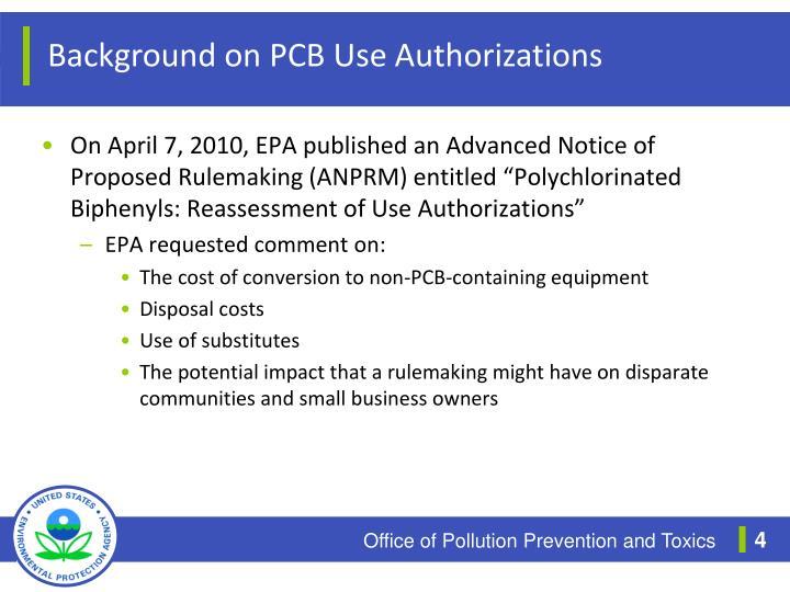 Background on PCB Use Authorizations