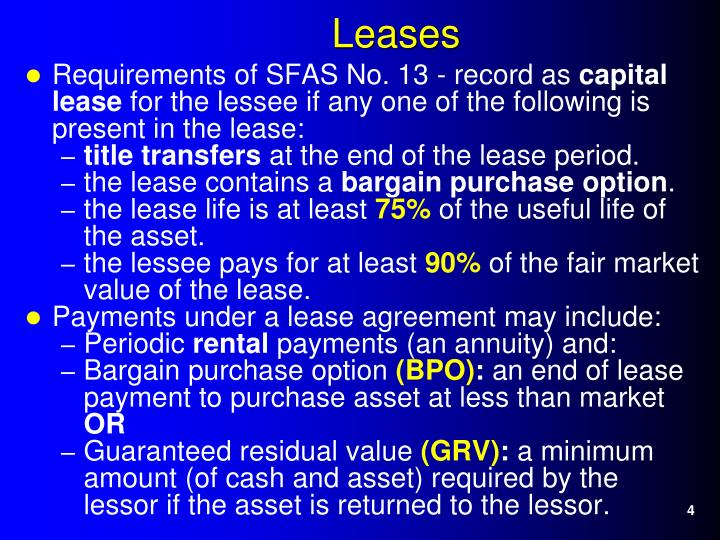 Requirements of SFAS No. 13 - record as