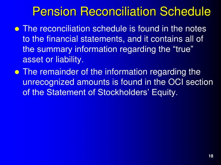 """The reconciliation schedule is found in the notes to the financial statements, and it contains all of the summary information regarding the """"true"""" asset or liability."""