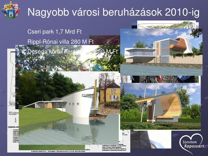 Nagyobb városi beruházások 2010-ig