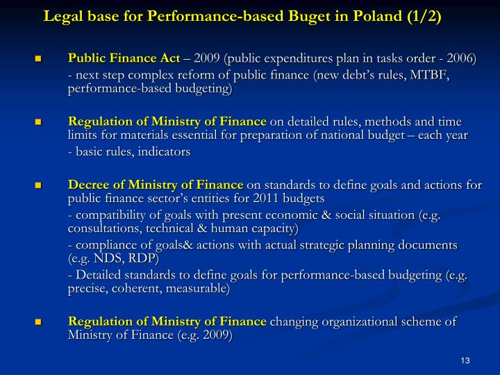 Legal base for Performance-based Buget in Poland (1/2)