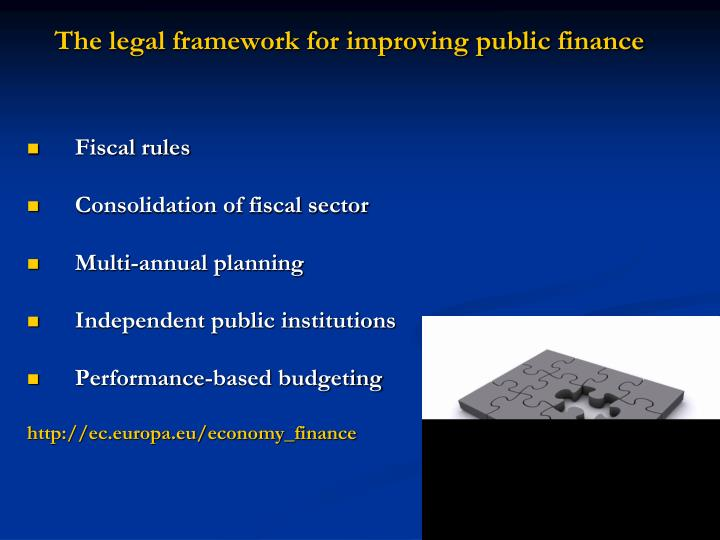 The legal framework for improving public finance
