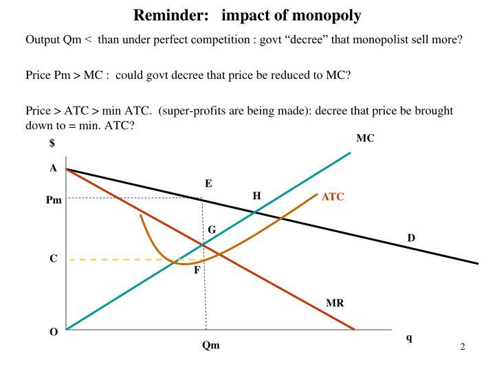 Reminder:   impact of monopoly
