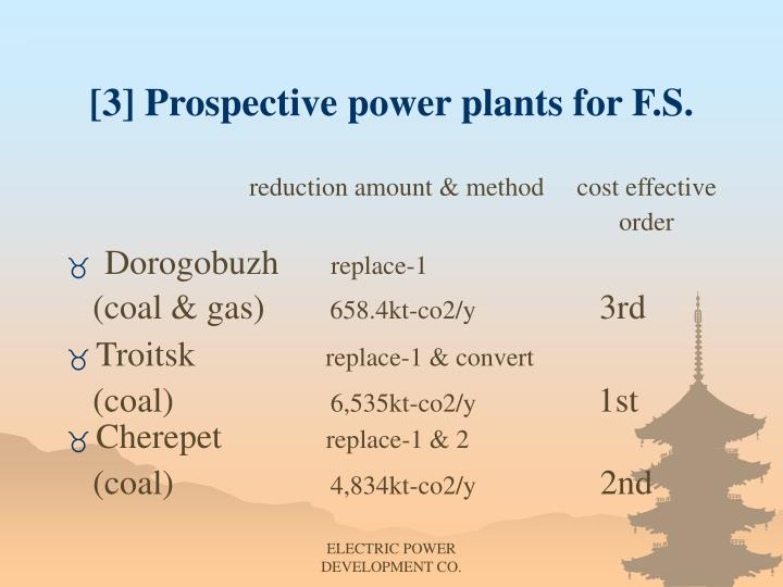 [3] Prospective power plants for F.S.