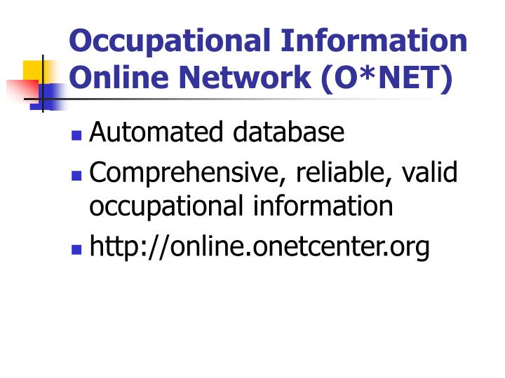 Occupational Information Online Network (O*NET)