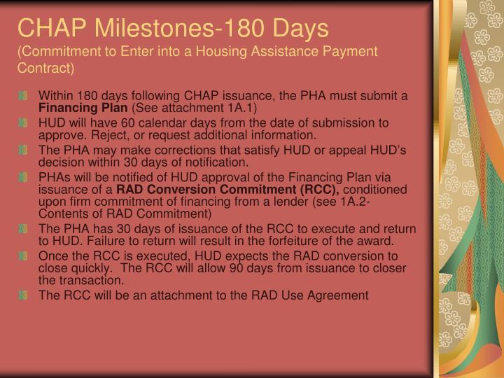 CHAP Milestones-180 Days