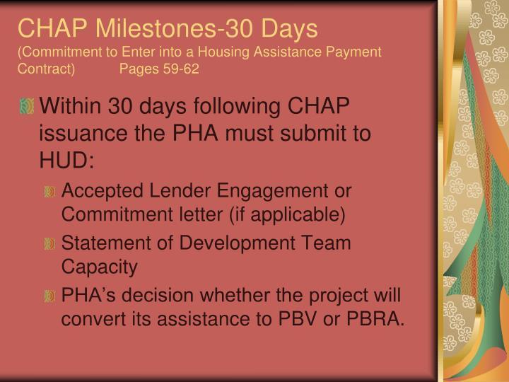 CHAP Milestones-30 Days