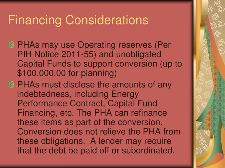 Financing Considerations