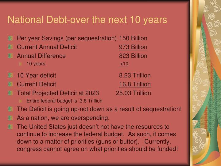 National Debt-over the next 10 years