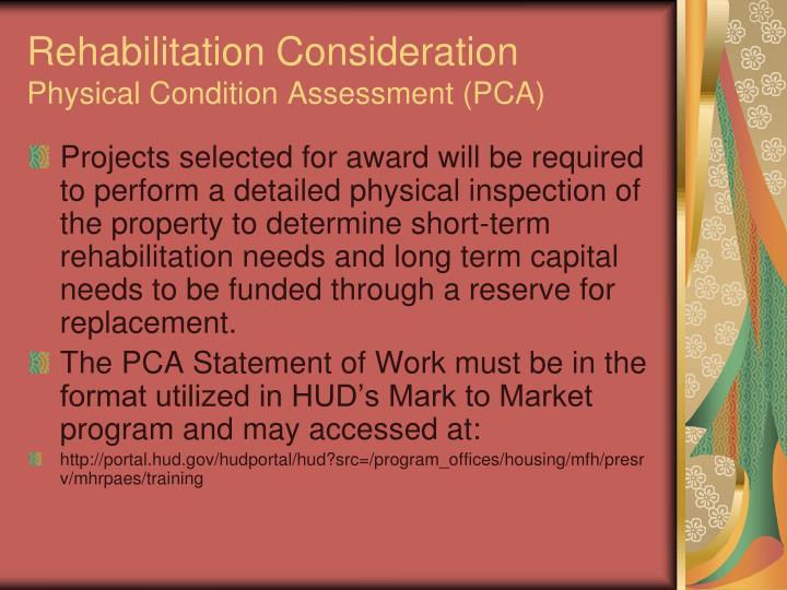 Rehabilitation Consideration