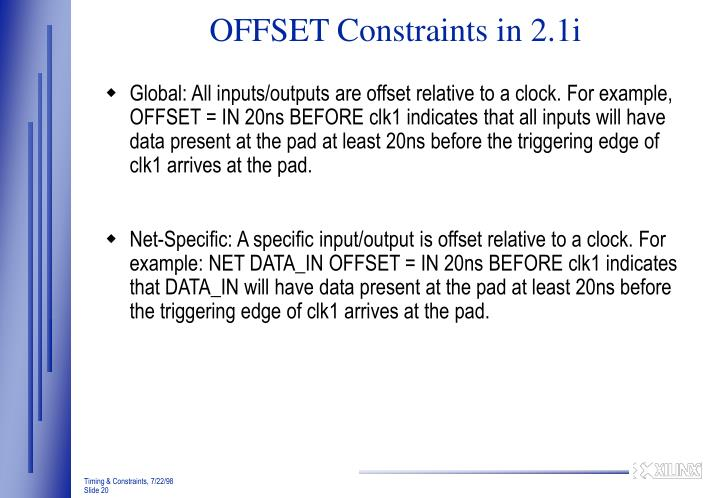 OFFSET Constraints in 2.1i