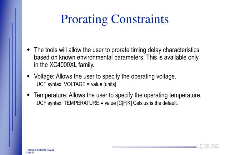 Prorating Constraints