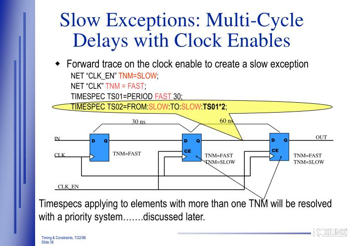 Slow Exceptions: Multi-Cycle Delays with Clock Enables