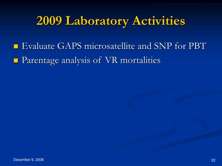 2009 Laboratory Activities