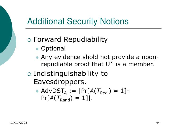 Additional Security Notions