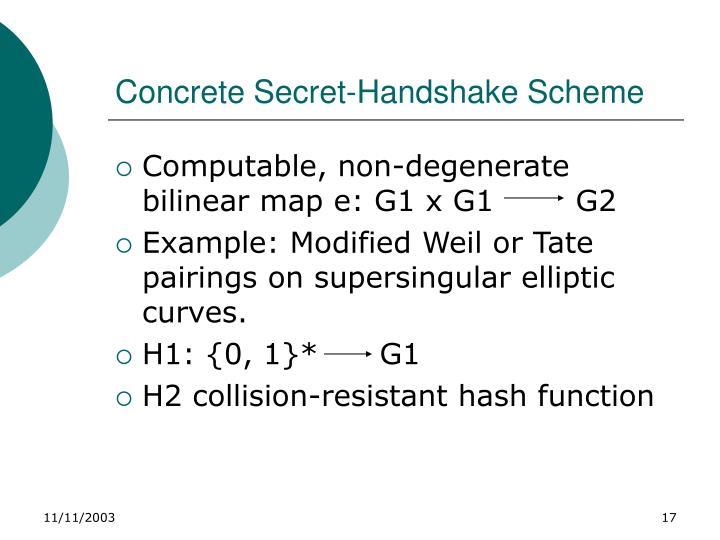 Concrete Secret-Handshake Scheme