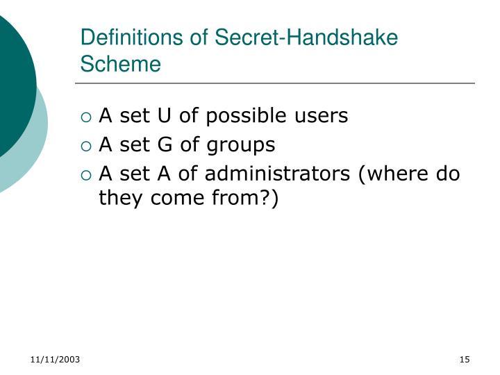 Definitions of Secret-Handshake Scheme