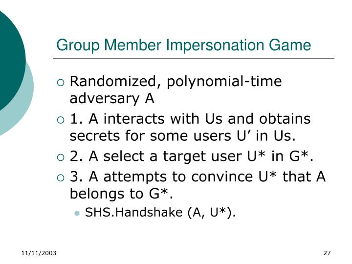 Group Member Impersonation Game