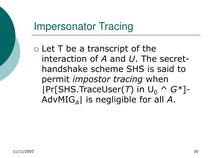 Impersonator Tracing