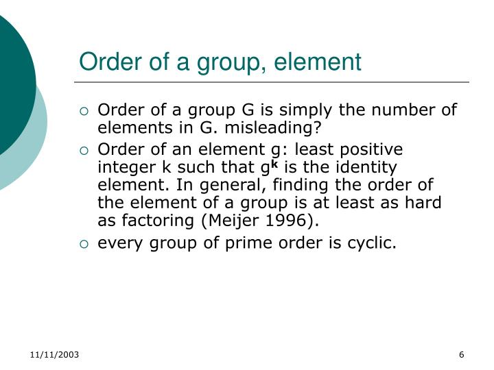 Order of a group, element