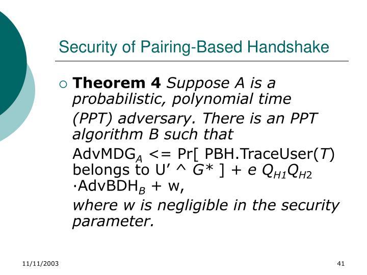 Security of Pairing-Based Handshake