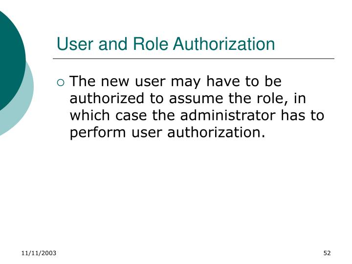 User and Role Authorization