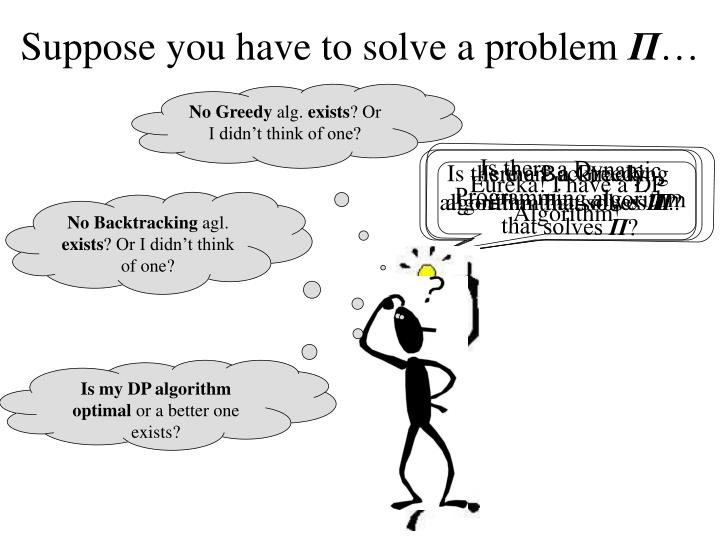 Suppose you have to solve a problem