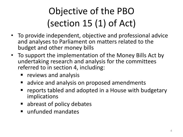 Objective of the PBO